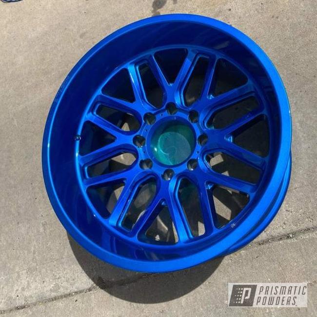 "Powder Coating: Wheels,Alloy Wheels,POLISHED ALUMINUM HSS-2345,Rims,Peeka Blue PPS-4351,Blue,22"",GMC,2500,Aluminum Wheels"