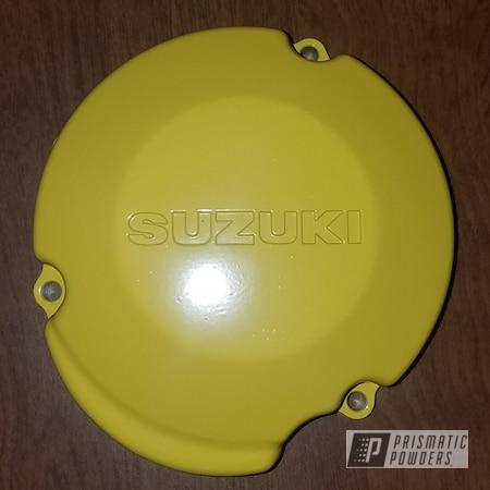 Powder Coating: Motorcycle Parts,Sunshine Yellow PSS-2600,Suzuki,RM250,Motorcycles,Stator Cover,Dirt Bike