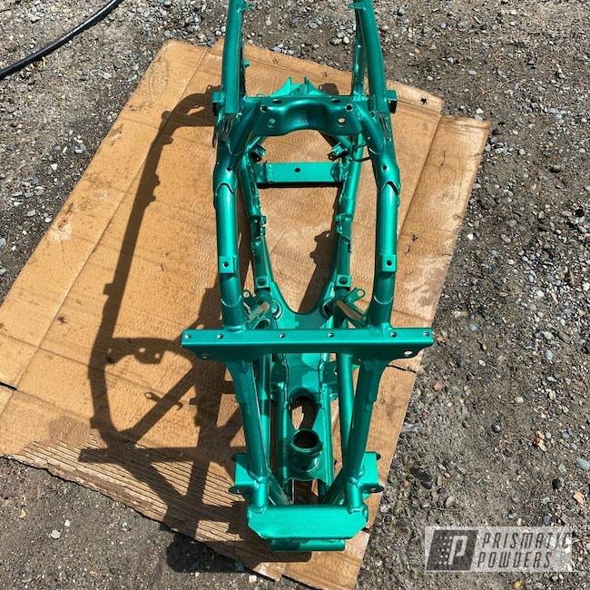 Powder Coating: ATV Frame,Heavy Silver PMS-0517,2 Color Application,ATV,ATV Parts,MOUNTAIN GREEN PPB-2470