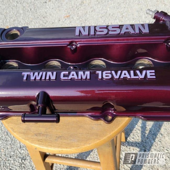 Powder Coating: Automotive,Clear Vision PPS-2974,Nissan,Illusions,Valve Cover,Illusion Malbec PMB-6906,Automotive Parts