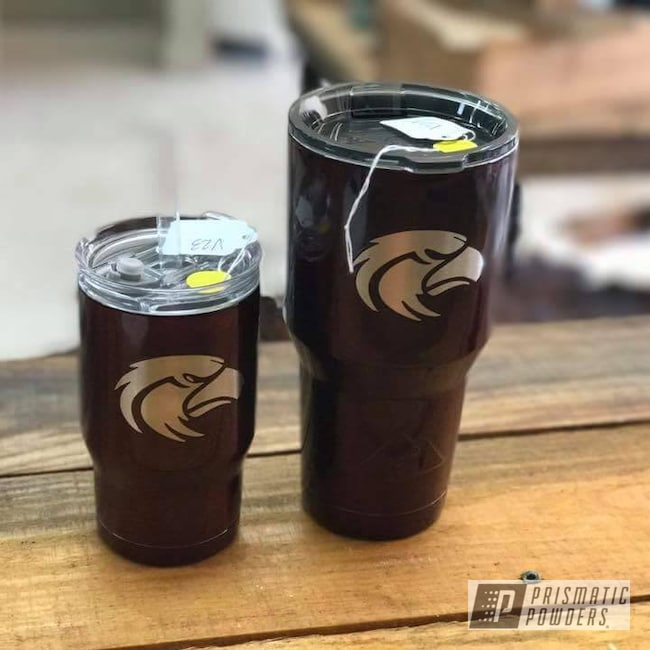 Powder Coating: Clear Vision PPS-2974,Clear Vision,Rose Cherry PPB-4437,eagles,Custom Tumbler Cup,Custom Yeti,Ozark Trail