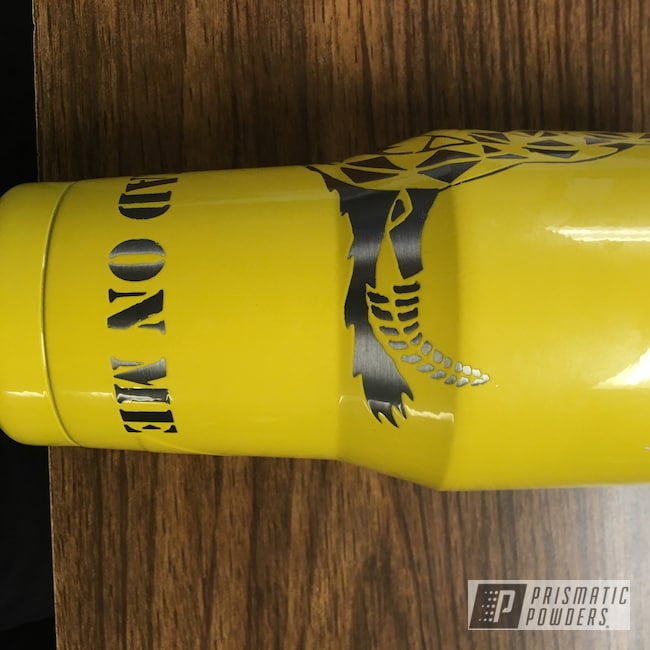 Powder Coating: gadsden flag,Clear Vision PPS-2974,don't tread on me,snake,Custom Tumbler Cup,Mellow Yellow PMB-0621,Ozark Trail