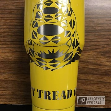 Clear Vision Over Mellow Yellow On Don't Tread On Me Gadsden Flag Tumbler