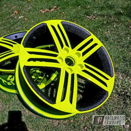 Powder Coating: Wheels,Two Stage Application,Neon Yellow PSS-1104,Two Tone Wheels,Custom 2 Coats,Automotive Rims,Shocker Yellow PPS-4765,Two Toned,Automotive Wheels,Aluminum Wheels,Splatter Black PWS-4344,Alloy Wheels,Rims,Two Tone