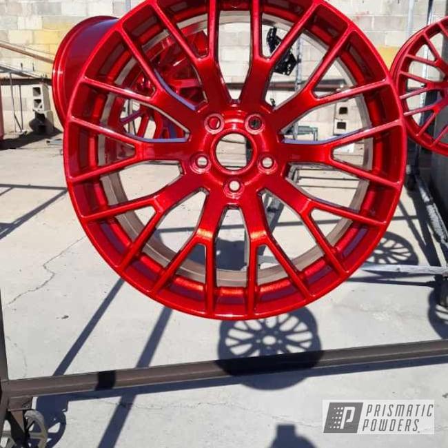 """Powder Coating: Wheels,19"""" Wheels,POLISHED ALUMINUM HSS-2345,Rims,DIAMOND RED UPB-5019"""