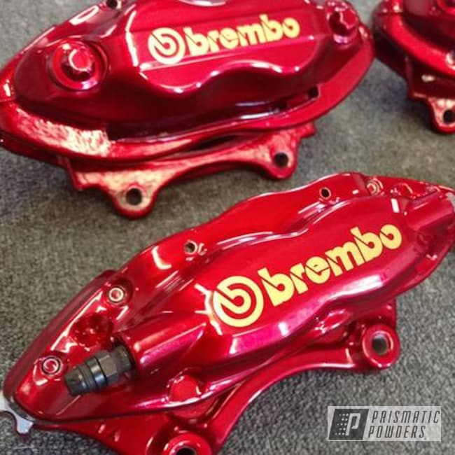 Powder Coating: Automotive,SUPER CHROME USS-4482,LOLLYPOP RED UPS-1506,Custom Brake Caliper,Brembo