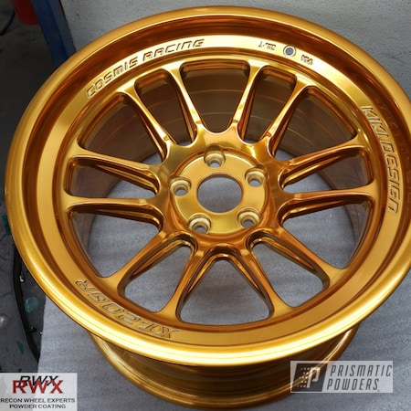 "Powder Coating: Wheels,Automotive,Custom Wheels,Cosmis Racing Wheels,17"" Wheels,powder coating,powder coated,Transparent Gold PPS-5139,XT-206R,Single Powder Application,Kiki Design,Rims,Gold,Cosmis Racing"