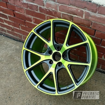 Shocker Yellow, Stealth Charcoal And Super Chrome On Custom Two Tone Wheels