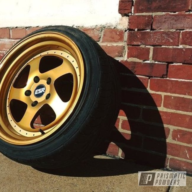 Powder Coating: Wheels,Automotive,SUPER CHROME USS-4482,Transparent Gold PPS-5139