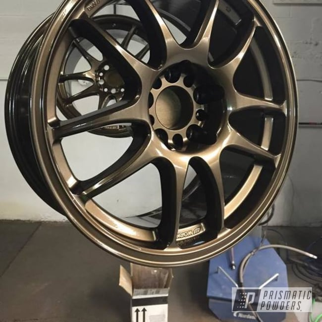 Powder Coating: Wheels,Automotive,Soft Clear PPS-1334,Bronze Chrome PMB-4124