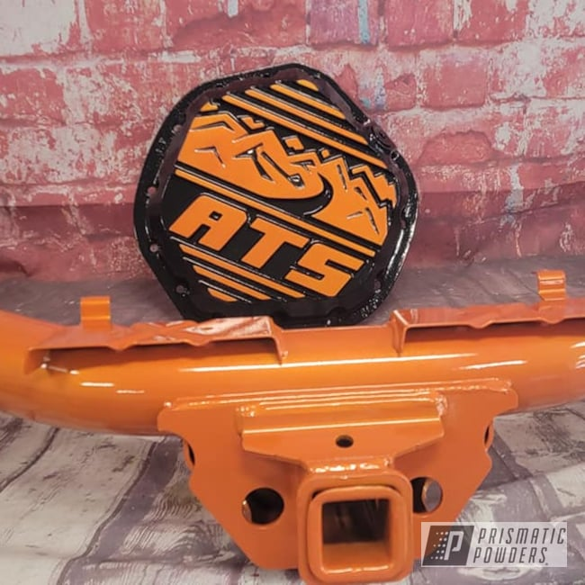 Powder Coating: Automotive,Clear Vision PPS-2974,Custom Two Tone,Ink Black PSS-0106,Illusions,Trailer Hitch,Illusion Orange PMS-4620,Automotive Parts