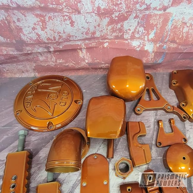Powder Coating: Harley Davidson Parts,Harley Davidson,POLISHED ALUMINUM HSS-2345,Motorcycle Parts,2 Stage Application,Transparent Colors,Harley,Trans Copper II PPS-2618