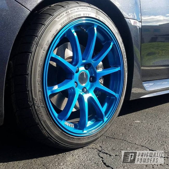 Powder Coating: HAWAIIAN TEAL UPB-1736,Wheels,Automotive,SUPER CHROME USS-4482