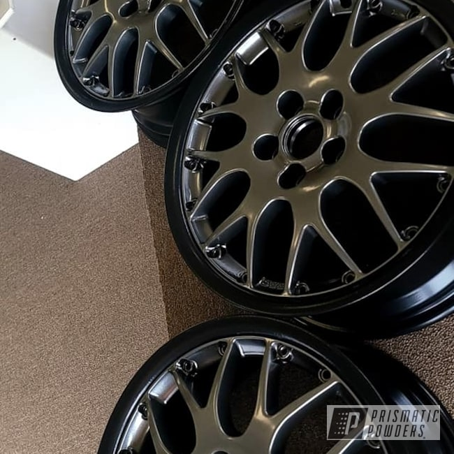 "Powder Coating: Wheels,Rims,Aluminum Rims,Kingsport Grey PMB-5027,15"" Aluminum Rims,15"" Wheels,Automotive Rims,Silk Satin Black HSS-1336,Automotive Wheels,Aluminum Wheels"