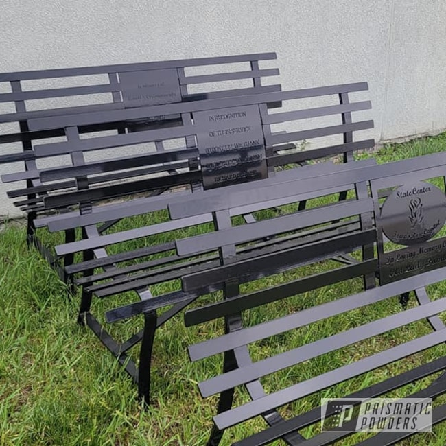 Powder Coating: Park Benches,Ink Black PSS-0106,Memorial Benches,Outdoor Bench,Outdoor Patio Furniture