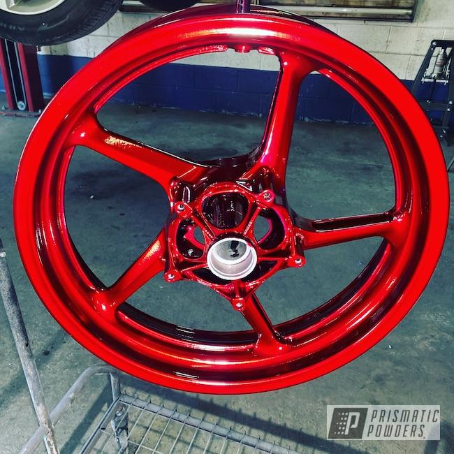 "Powder Coating: GXXR,2 Color Application,POLISHED ALUMINUM HSS-2345,15"" Wheels,Aluminum,Sport Bike,Wizard Red PPS-4690"
