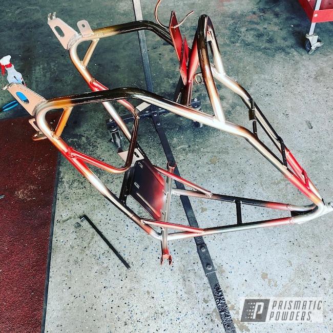 Powder Coating: Flaming Gold PPB-4698,Custom,Mini Bike,POLISHED ALUMINUM HSS-2345,Ink Black PSS-0106,4 Color Fade,4 Tone,Astatic Red PSS-1738