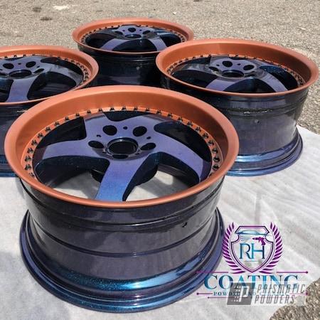 "Powder Coating: Wheels,Alloy Wheels,Clear Vision PPS-2974,enkei,Rims,GLOSS BLACK USS-2603,3pieces,18"" Aluminum Rims,Chameleon Sapphire Teal PPB-5732"