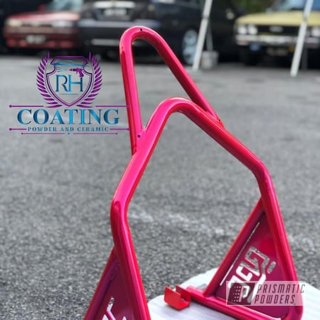Powder Coating: Bicycles,Accessories,Bike,Bicycle Parts,Paddock,Alien Silver PMS-2569,Stand,Corkey Pink PPS-5875