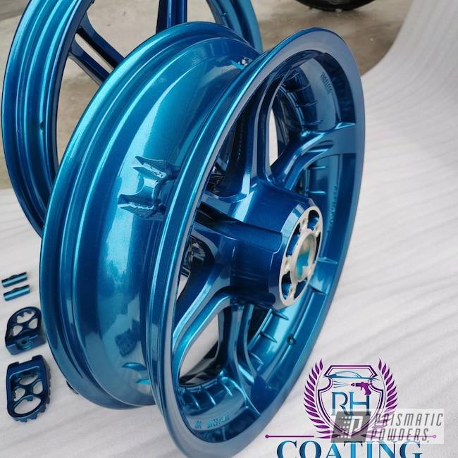 "Powder Coating: Harley Davidson Parts,Harley Davidson,Alloy Wheels,Clear Vision PPS-2974,17"" Aluminum Rims,Stardust Blue PPB-4676,Harley,Alien Silver PMS-2569"