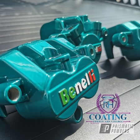 Powder Coating: Thompson Green PPB-5929,Automotive,Calipers,Brake Calipers,Benelli,Caliper,Cloud White PSS-0408,Alien Silver PMS-2569,Very Red PSS-4971,Custom Brake Calipers,Cortez Teal PPS-4477