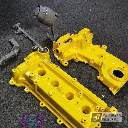 Powder Coating: Automotive,Sunshine Yellow PSS-2600,Valve Cover,Glowbee Clear PPB-4617