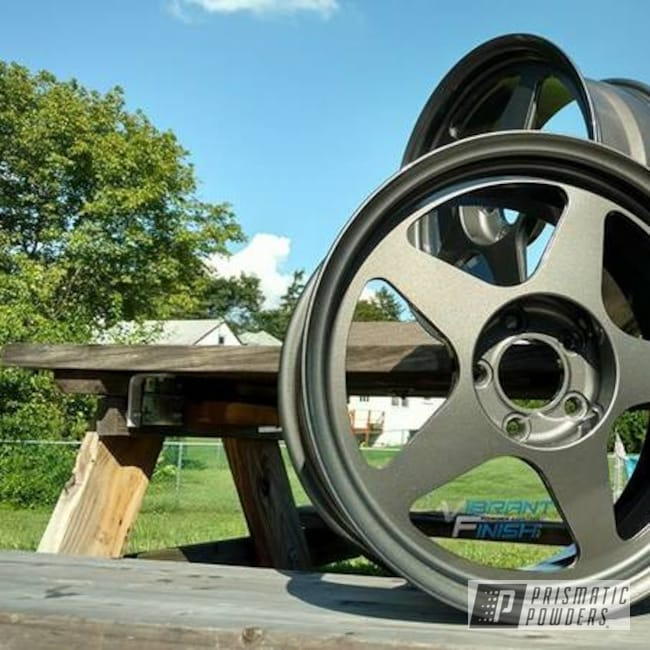 Powder Coating: Wheels,Automotive,Stealth Charcoal PMB-6547,Clear Vision PPS-2974