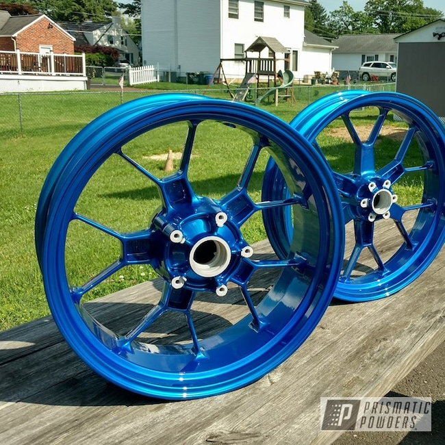 Powder Coating: SUPER CHROME USS-4482,Custom Wheels,Peeka Blue PPS-4351