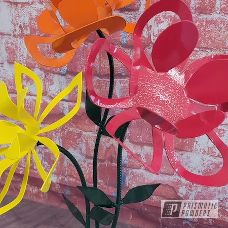 Powder Coating: Passion Red PSS-4783,Multi Color Application,Yard Art,Garden Art,Flowers,Outdoor Decor,RAL 1018 ZincYellow,Metal Sculpture,RAL 3002 Carmine Red,RAL 6009 Fir Green,RAL 2008 Bright Red Orange