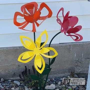 Powder Coated Metal Flower Art In Pss-4783, Ral 3002, Ral 2008, Ral 1018, Ral 6009