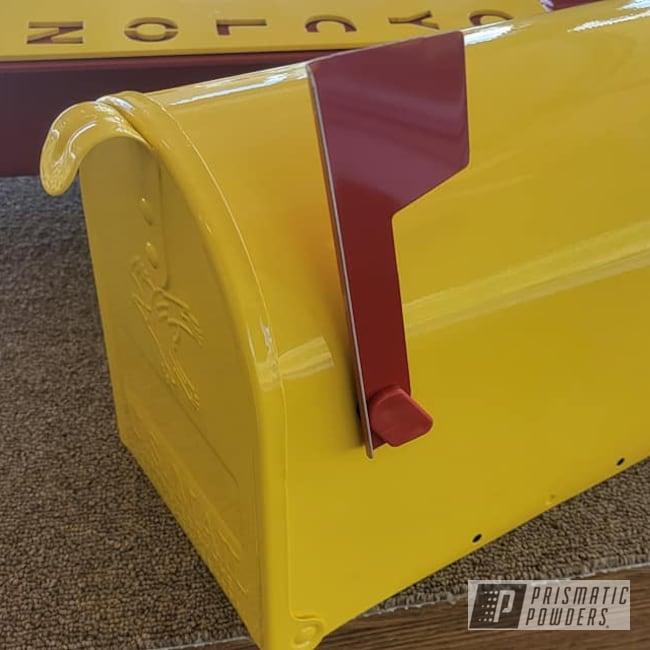 Powder Coating: 2 Color Application,Football,RAL 1018 ZincYellow,RAL 3002 Carmine Red,Mailbox,Iowa State,Custom Mailbox