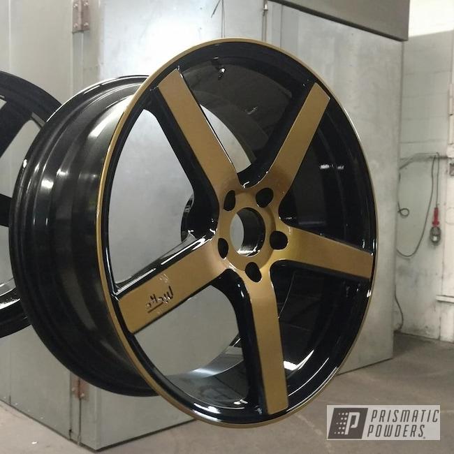 Powder Coating: Wheels,Automotive,Clear Vision PPS-2974,Custom Wheels,Ink Black PSS-0106,Spanish Gold EMS-0940