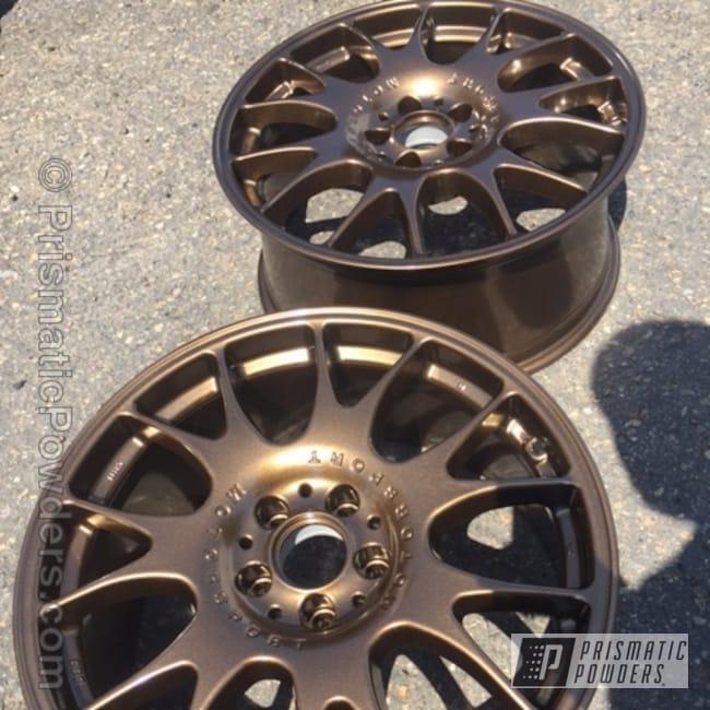 Powder Coating: Automotive,Single Stage Application,Custom Wheels,Bronze Chrome PMB-4124,BBS Wheels
