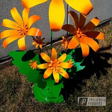 Powder Coated Metal Flower Art In Pss-4531, Ral 1018 And Ral 2010