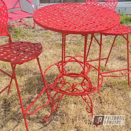 Powder Coating: Patio Chair,RAL 3002 Carmine Red,Vintage Furniture,Outdoor Patio Furniture,Bistro Set,lawn furniture