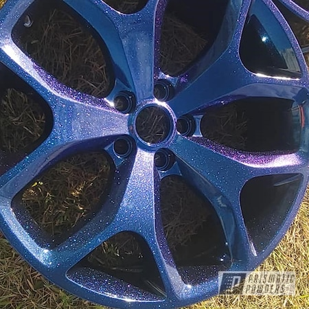 "Powder Coating: Wheels,Rims,Chameleon Sapphire PPB-5729,Ink Black PSS-0106,Aluminum Rims,2 Stage Application,Dodge,18"" Aluminum Rims,Automotive Rims,Automotive Wheels,Aluminum Wheels"