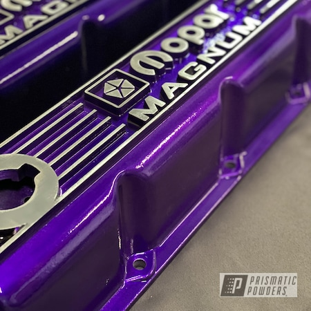 Powder Coating: Automotive,2 Color Application,POLISHED ALUMINUM HSS-2345,Two Stage Application,Valve Covers,Lollypop Purple PPS-1505,Valve Cover