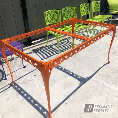Powder Coating: Chairs,Patio Furniture,Chartreuse Sherbert PSS-7068,New Tucker Orange PMB-4209,Outdoor Furniture,Patio Set,Patio Chair,Lawn Chairs,Furniture