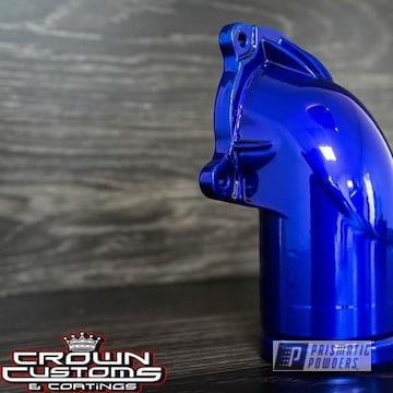 Super Chrome and Lollypop Blue over Super Chrome on a Thermostat Housing