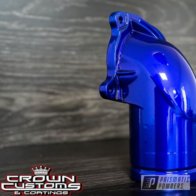 Powder Coating: Super Chrome USS-4482,Thermostat housing,Lollypop Blue UPS-2502,Engine Parts