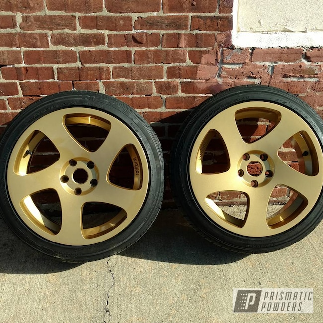 Powder Coating: Wheels,Automotive,Clear Vision PPS-2974,Two Stage Application,Spanish Gold EMS-0940
