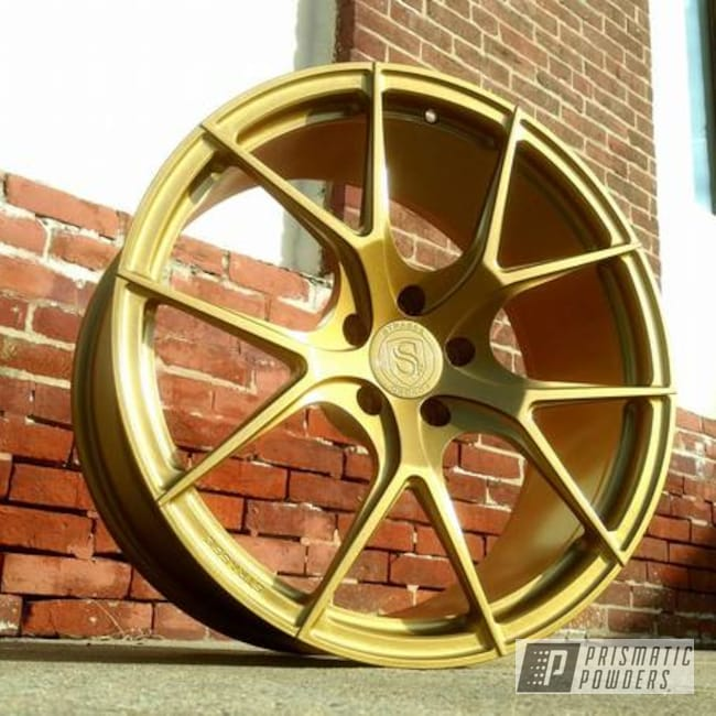 Powder Coating: Wheels,Goldtastic PMB-6625,Automotive,Soft Clear PPS-1334,Two Stage Application,Custom Wheels