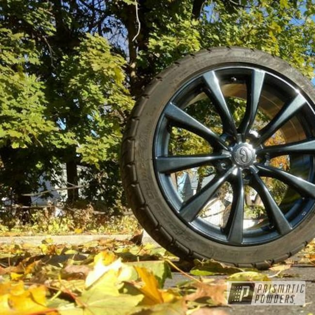 Powder Coating: Wheels,Automotive,Clear Vision PPS-2974,Custom Wheel,Two Stage Application,Misty Black PMB-4216