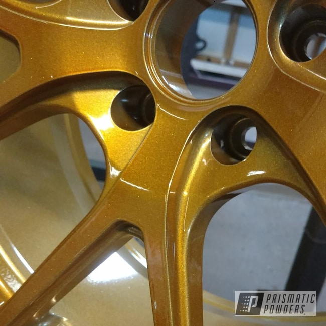 Powder Coating: Wheels,Automotive,Heavy Silver PMS-0517,Two Stage Application,Transparent Gold PPS-5139
