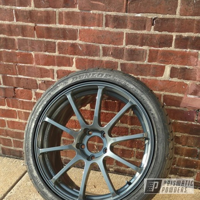 Powder Coating: Wheels,Automotive,Clear Vision PPS-2974,Two Stage Application,Heavy Steel PMS-1366