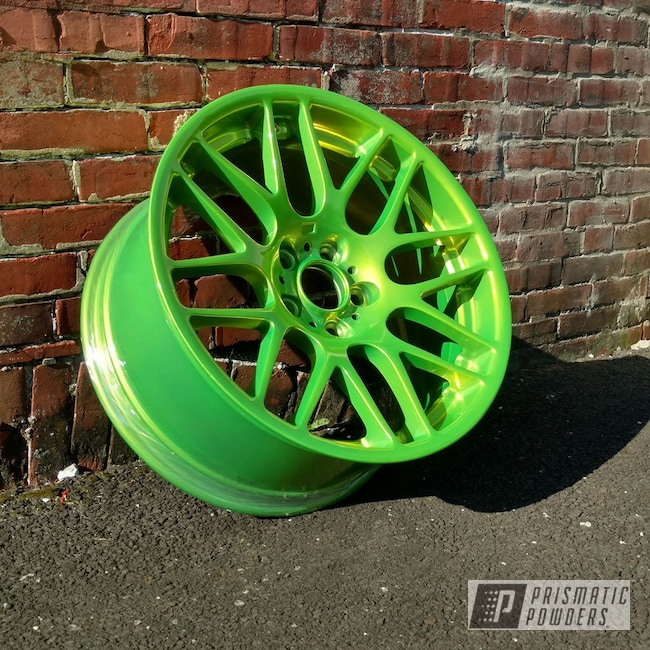 Powder Coating: Wheels,Automotive,SUPER CHROME USS-4482,Two Stage Application,Shocker Yellow PPS-4765