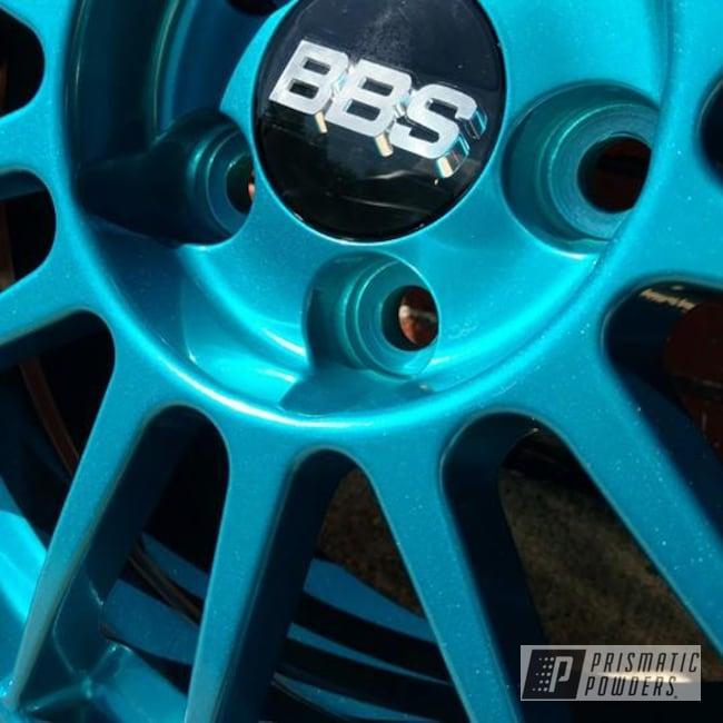 Powder Coating: HAWAIIAN TEAL UPB-1736,Wheels,Automotive,SUPER CHROME USS-4482,BBS Wheels,Teal wheels