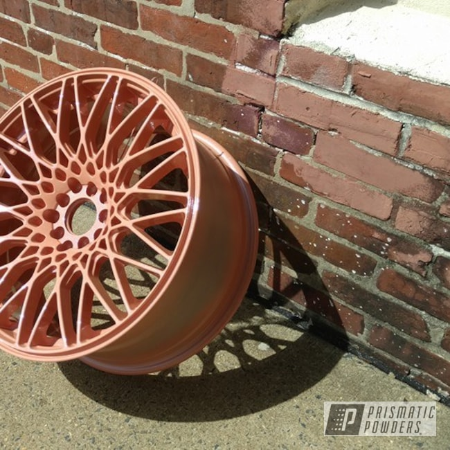 Powder Coating: Wheels,Automotive,Peach Ice Cream PSS-2732,Two Stage Application,Chameleon Sapphire PPB-5729