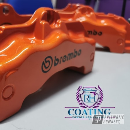 Powder Coating: Automotive,Calipers,Clear Vision PPS-2974,Brakes,Brembo,GLOSS BLACK USS-2603,Brake Calipers,Porsche,Brembo Brake Calipers,Orange,Illusion Orange PMS-4620