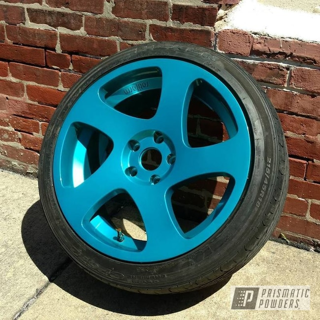 Powder Coating: Wheels,Automotive,JAMAICAN TEAL UPB-2043,SUPER CHROME USS-4482,Multi Stage Application,Chameleon Sapphire PPB-5729